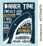 dangerous shark illustration... | Shutterstock .eps vector #607556870