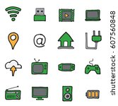 freehand line icons for... | Shutterstock .eps vector #607560848