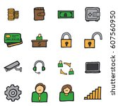 freehand line icons for... | Shutterstock .eps vector #607560950
