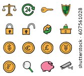 freehand line icons for... | Shutterstock .eps vector #607561028
