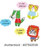 cute animal set vector artwork | Shutterstock .eps vector #607562018