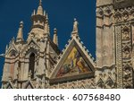 siena cathedral is a medieval... | Shutterstock . vector #607568480