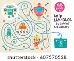 funny maze for children. help... | Shutterstock .eps vector #607570538