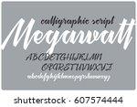calligraphic handwritten font...   Shutterstock .eps vector #607574444