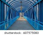 Blue Overhead Pedestrian Bridge ...