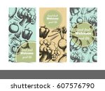 collection of postcard... | Shutterstock .eps vector #607576790
