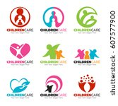 children care and family care... | Shutterstock .eps vector #607577900