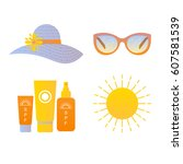 vector illustration  sun... | Shutterstock .eps vector #607581539