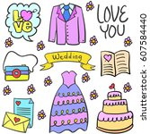doodle of wedding party style... | Shutterstock .eps vector #607584440