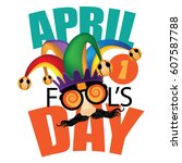 april fools day jester hat ... | Shutterstock .eps vector #607587788