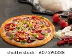 mixed pizza | Shutterstock . vector #607590338