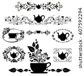 black tea. collection of design ... | Shutterstock .eps vector #607592294