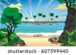 landscape island with palm... | Shutterstock .eps vector #607599440