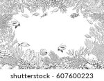 hand drawn underwater natural... | Shutterstock .eps vector #607600223
