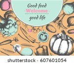 poster with organic products.... | Shutterstock .eps vector #607601054