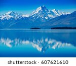 mt. hood lake reflection  new... | Shutterstock . vector #607621610