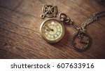 vintage pocket watch necklace...   Shutterstock . vector #607633916