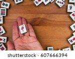 white green tiles for mahjong...   Shutterstock . vector #607666394