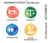 business ethics solid icon set | Shutterstock .eps vector #607688834