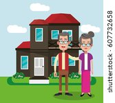 couple with house home image | Shutterstock .eps vector #607732658