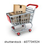 shop cart and box commodity. 3d ...   Shutterstock . vector #607734524