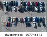 top aerial view of cars in... | Shutterstock . vector #607746548