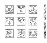 people face cartoon raster... | Shutterstock . vector #607760078