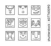 people face cartoon raster... | Shutterstock . vector #607760090