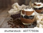 coffee chocolate mousse with... | Shutterstock . vector #607775036