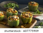 homemade meat and rice stuffed... | Shutterstock . vector #607775909