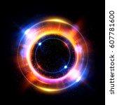 abstract neon background.... | Shutterstock . vector #607781600
