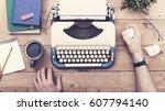 writers block | Shutterstock . vector #607794140