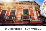 the oldest district in buenos... | Shutterstock . vector #607798820