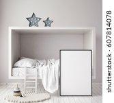 mock up poster frame in... | Shutterstock . vector #607814078