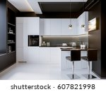 white contrast modern kitchen... | Shutterstock . vector #607821998