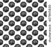 abstract polka dot pattern with ... | Shutterstock . vector #607845830