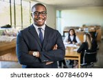 smiling boss ceo at office work ... | Shutterstock . vector #607846094