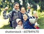 travel  tourism  hike ... | Shutterstock . vector #607849670