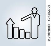 increasing business man graph... | Shutterstock .eps vector #607852706