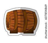 best wine barrel icon vector... | Shutterstock .eps vector #607854869