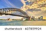 sydney harbour bridge seen from ... | Shutterstock . vector #607859924