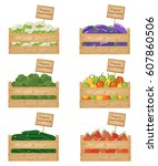 wooden boxes of vegetables.... | Shutterstock .eps vector #607860506