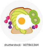 toast with egg | Shutterstock .eps vector #607861364