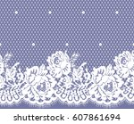 seamless white vector lace... | Shutterstock .eps vector #607861694