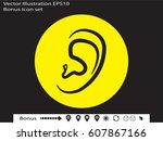 ear  medicine  icon  vector... | Shutterstock .eps vector #607867166