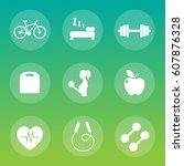 set of 9 fitness icon. vector... | Shutterstock .eps vector #607876328