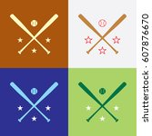 a collection of crossed... | Shutterstock .eps vector #607876670