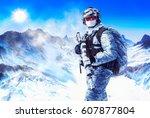 soldier in winter uniforms and... | Shutterstock . vector #607877804