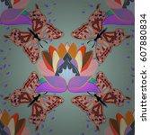 vector illustration of flowers. ... | Shutterstock .eps vector #607880834