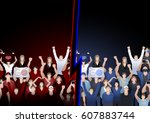 crowd of cheering fans. two... | Shutterstock .eps vector #607883744
